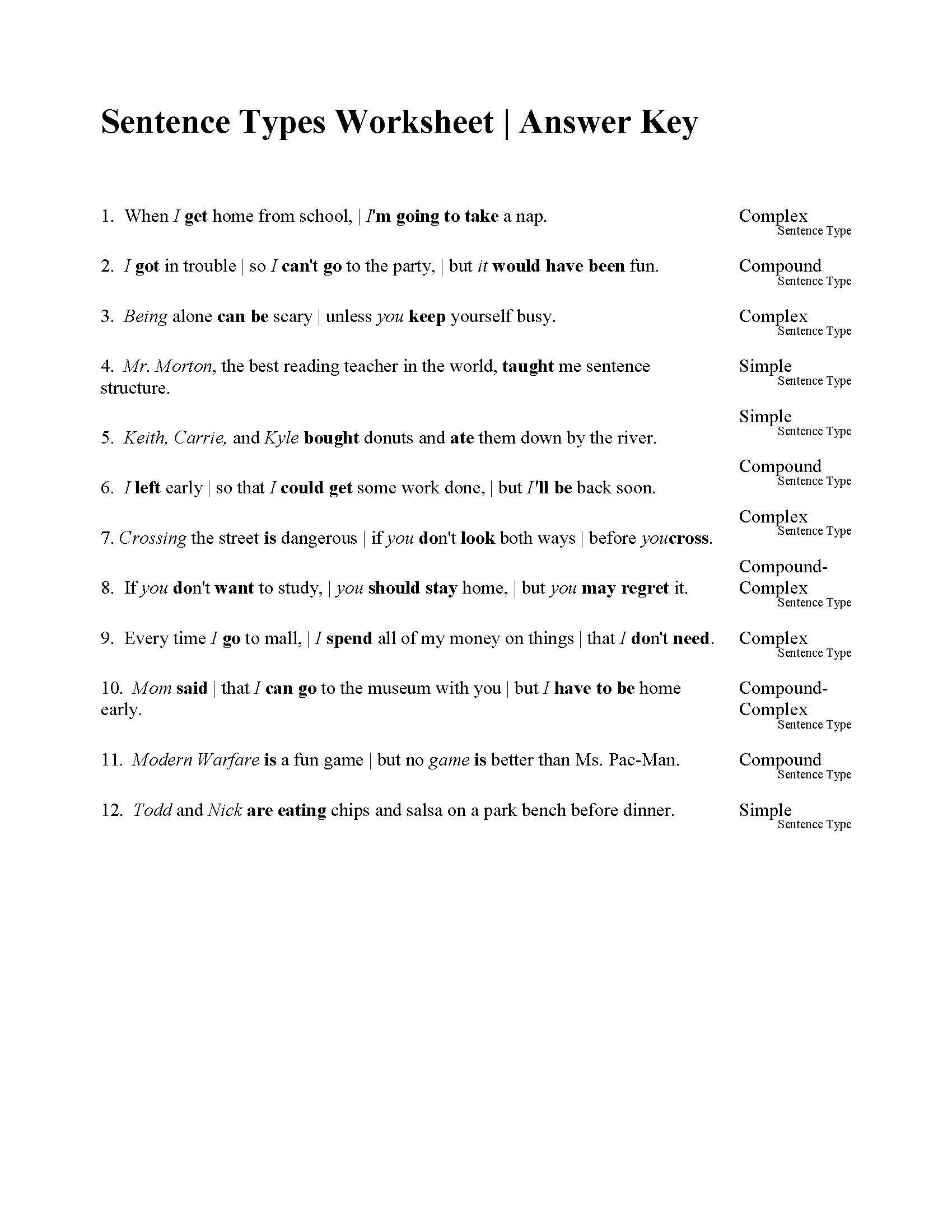 Compound Sentences Worksheet Pdf