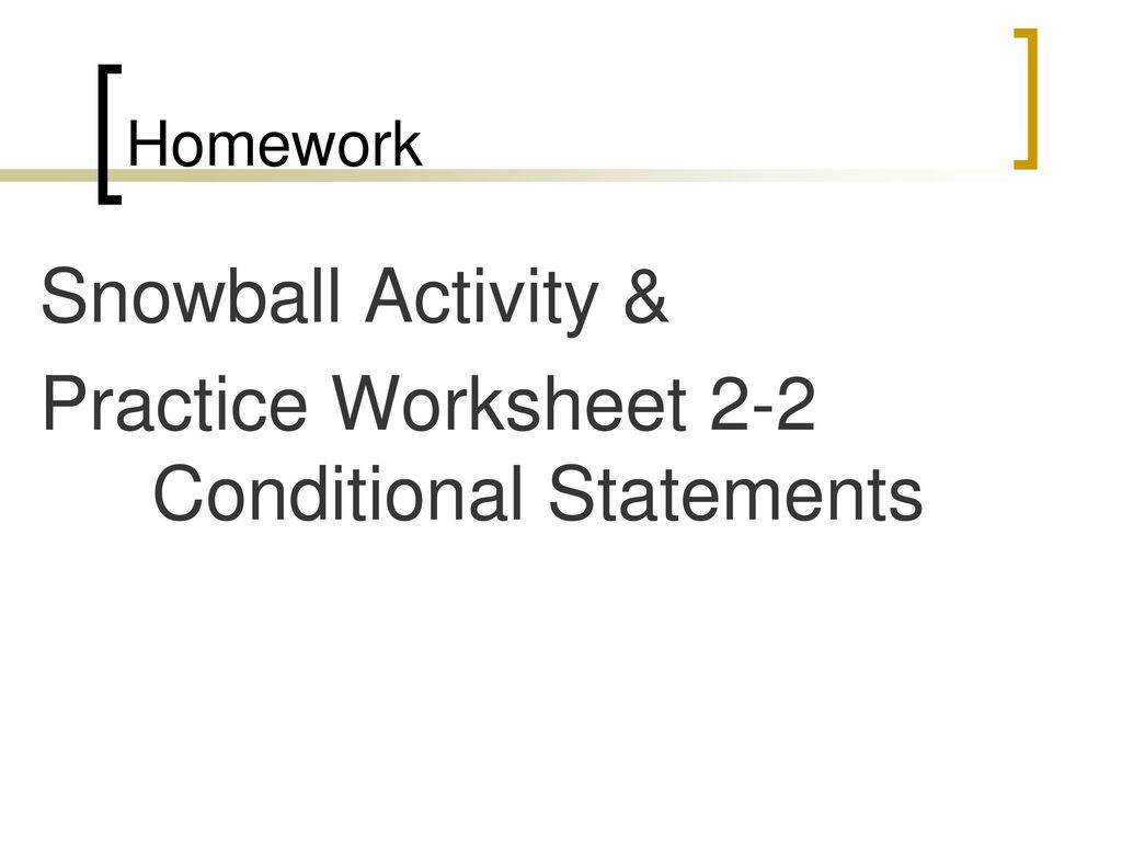 Conditional Statements Worksheet with Answers