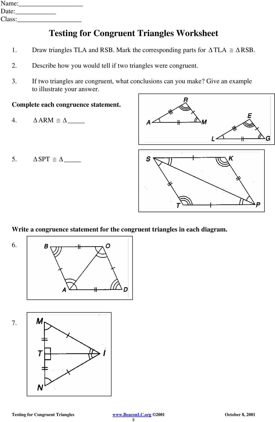 Congruent Triangles Worksheet with Answers