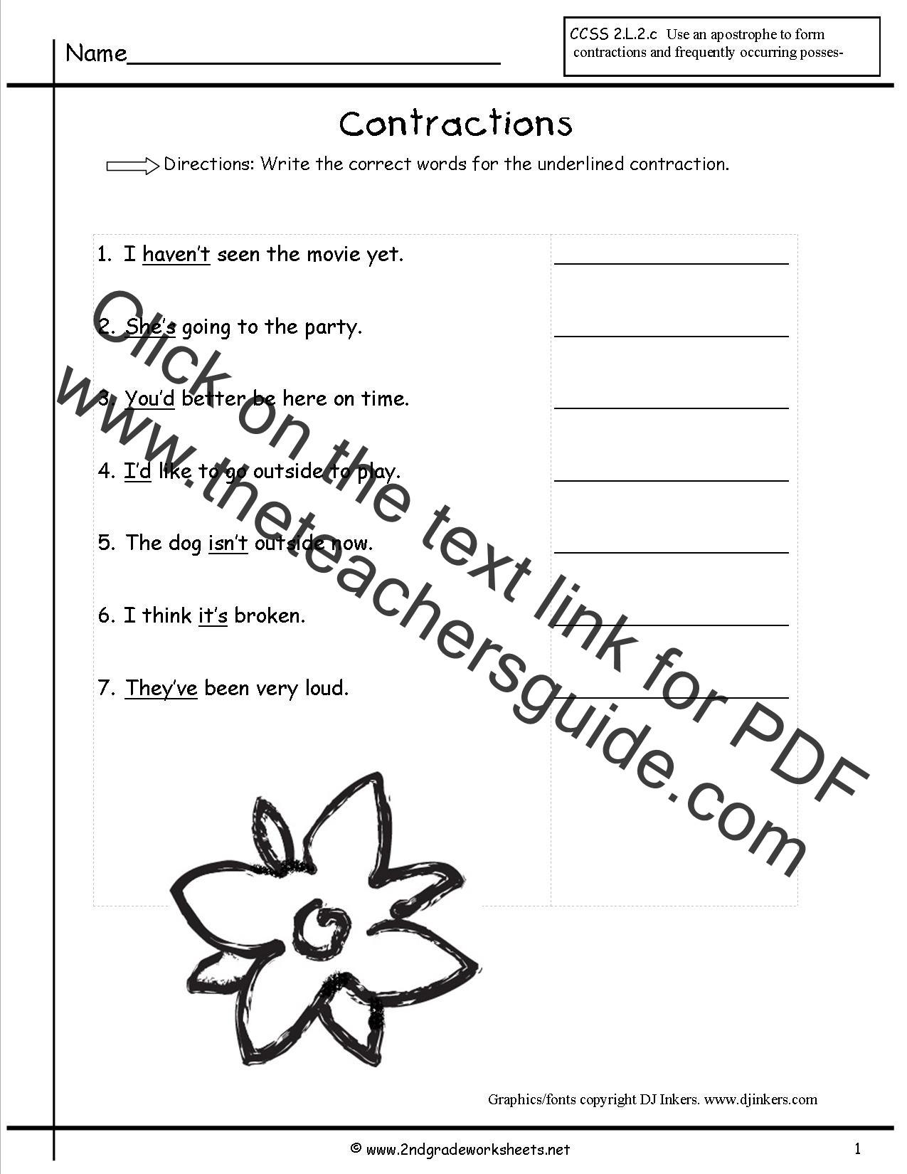 Contractions Worksheet 2nd Grade
