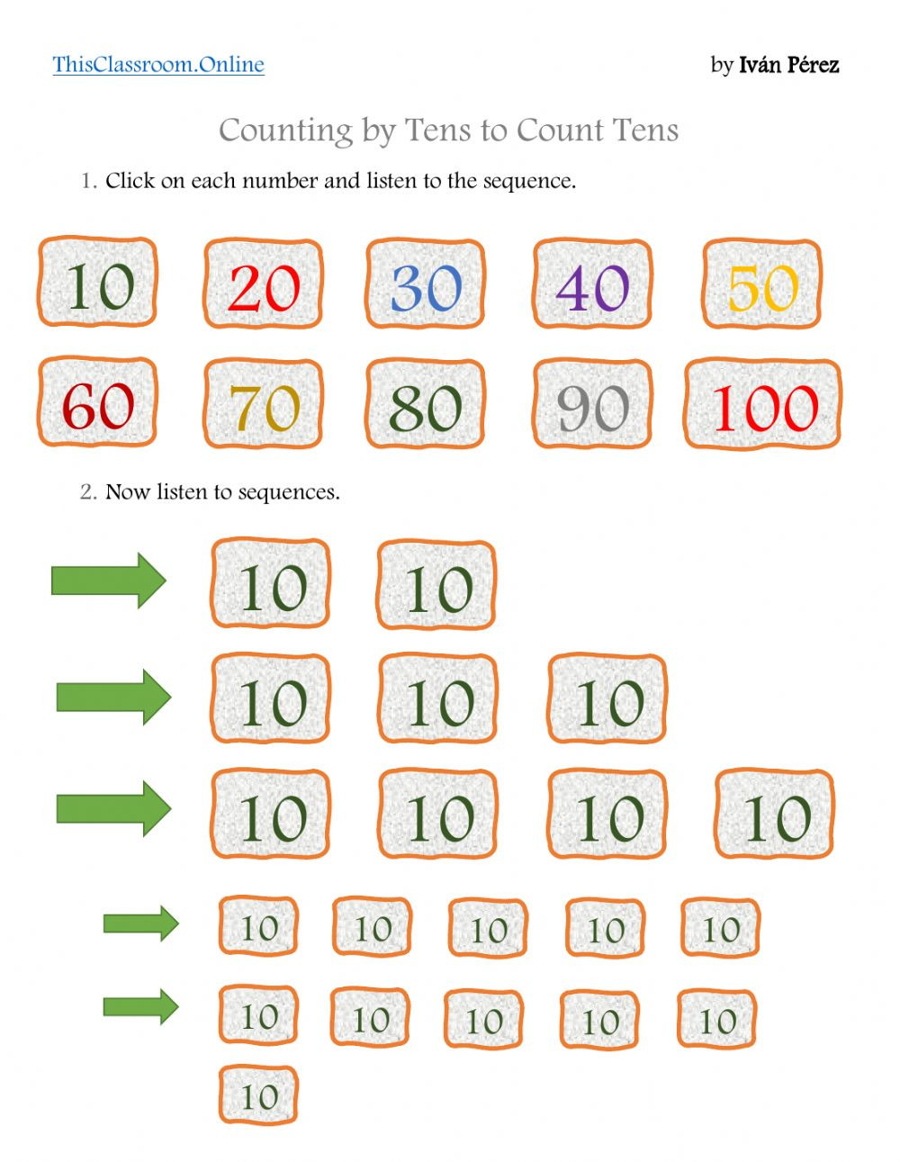 Counting In 10s Worksheet