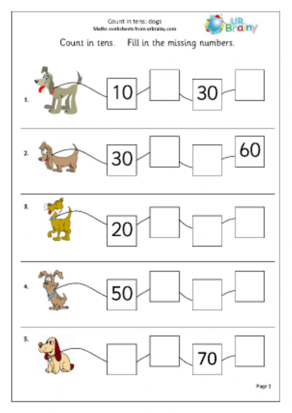 Counting on in 10s Interactive worksheet