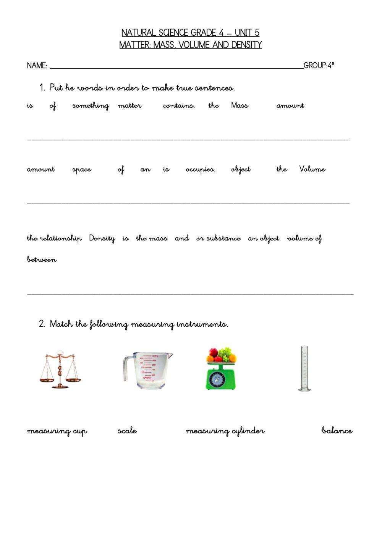 Density Worksheet Chemistry Answers