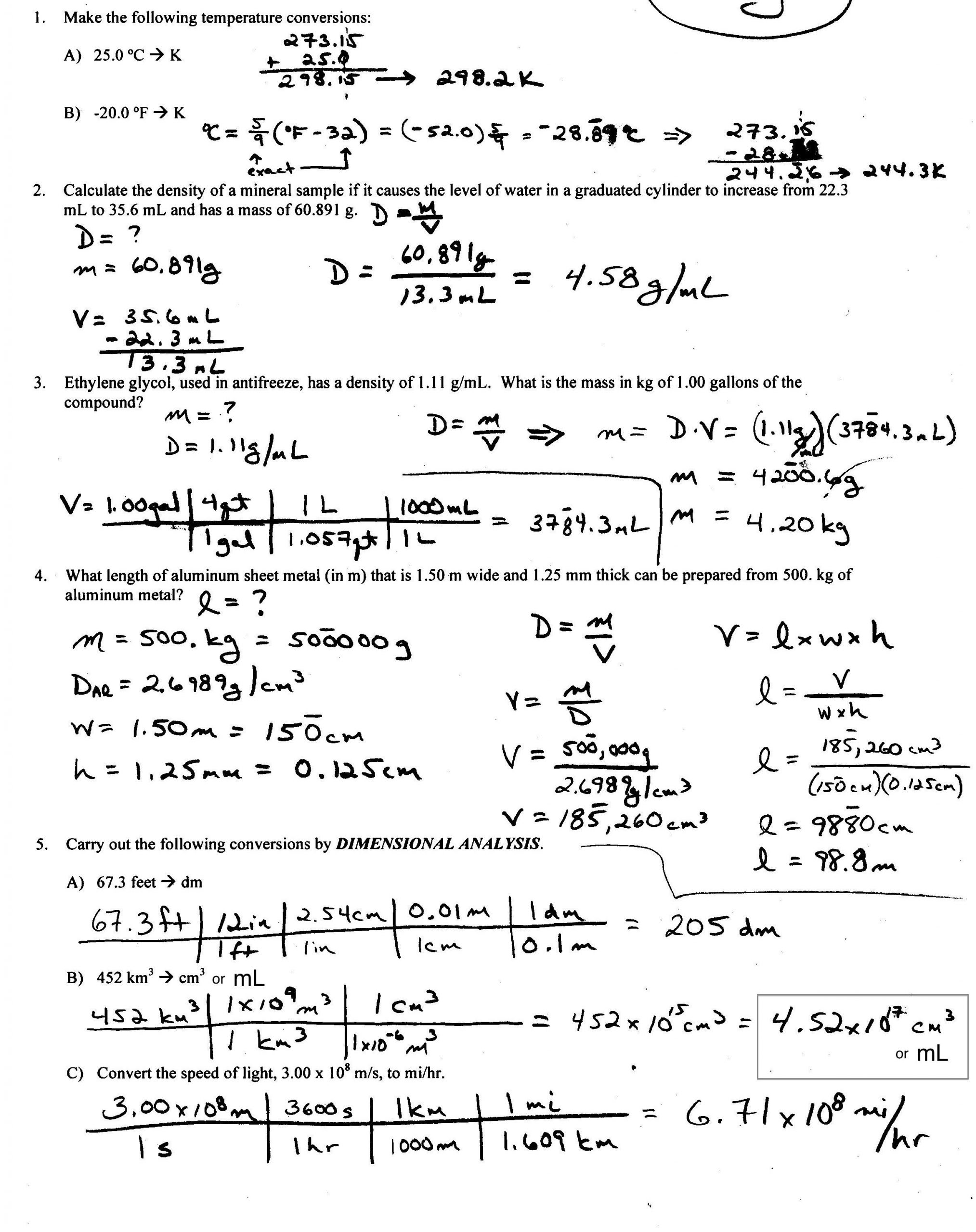 Density Worksheet With Answers calculate density worksheet