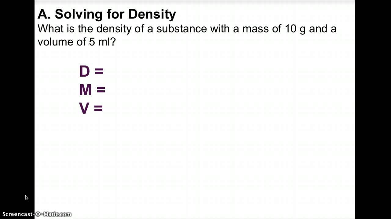 Density Worksheet Middle School