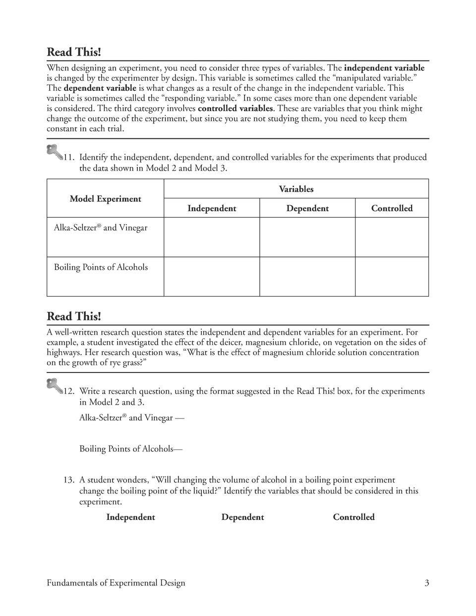 Designing An Experiment Worksheet