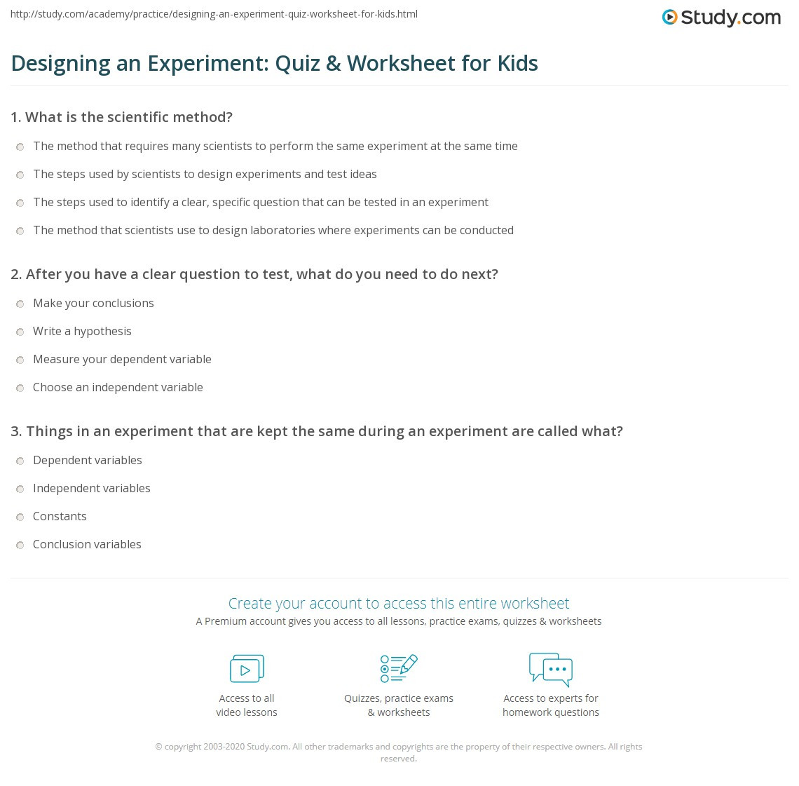 Designing an Experiment Quiz & Worksheet for Kids