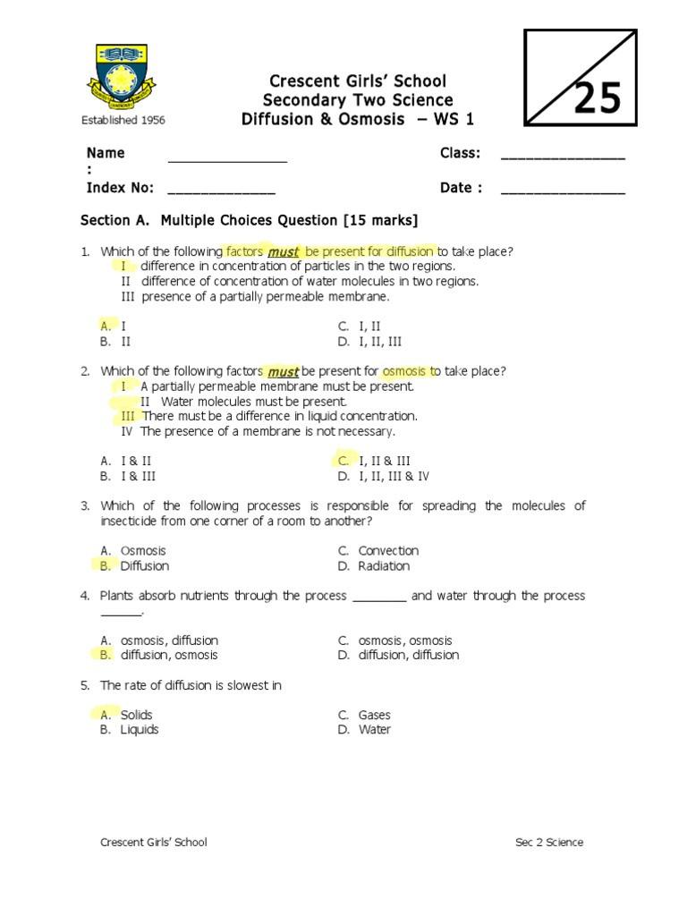 Diffusion and Osmosis Worksheet Answers