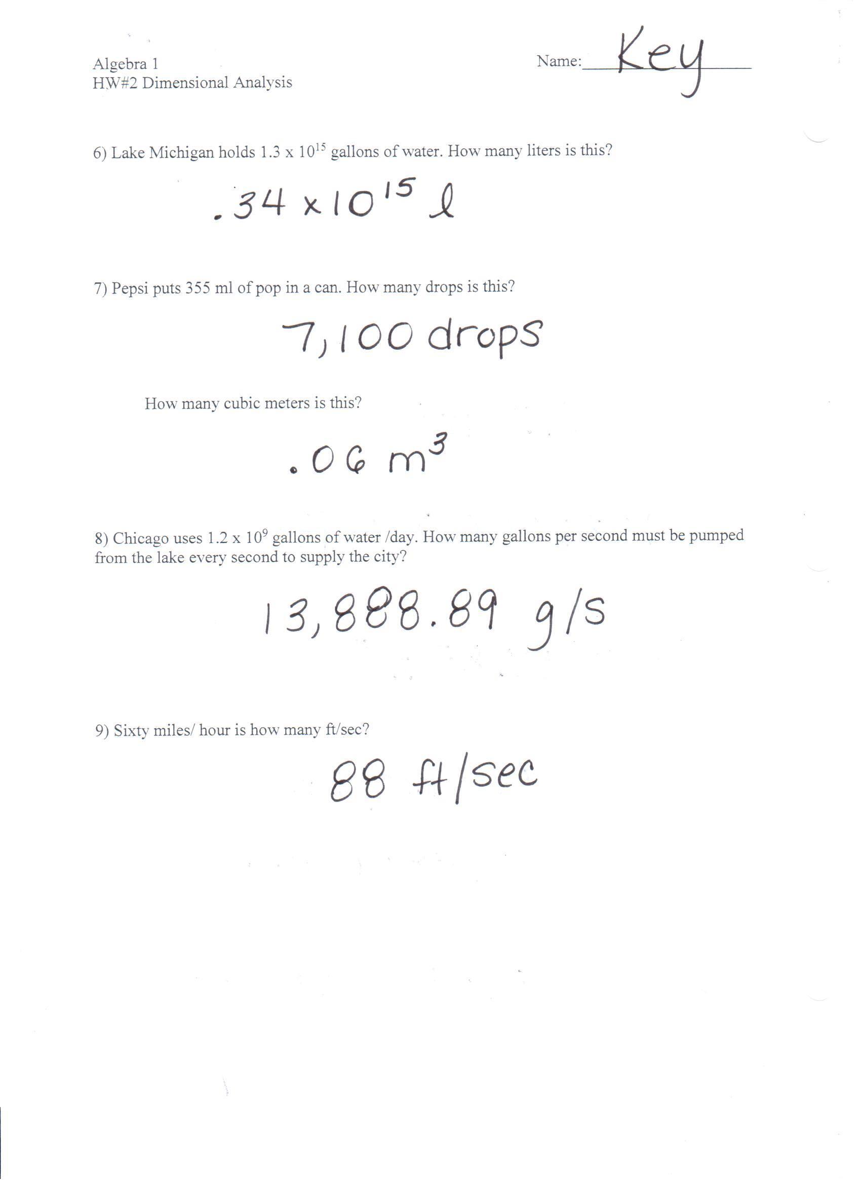 Dimensional Analysis Practice Worksheet