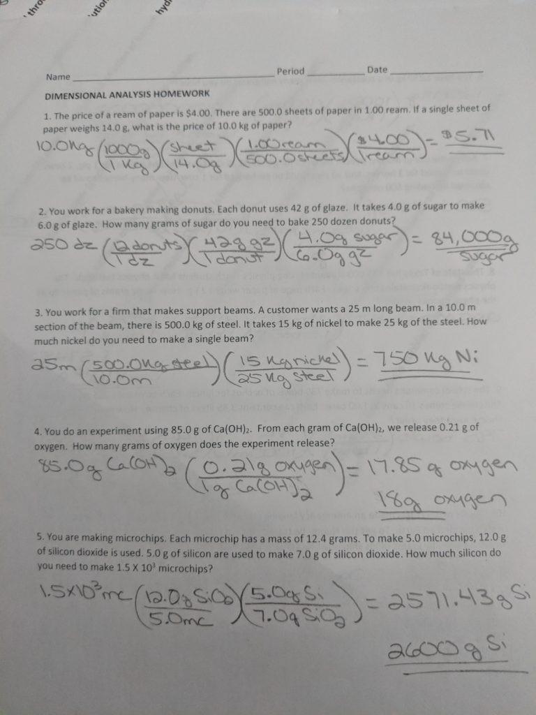 Dimensional Analysis Worksheet Key