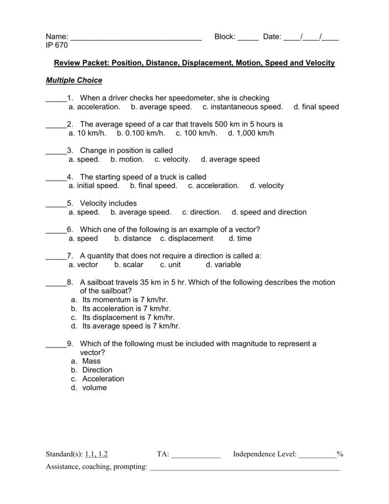 Distance and Displacement Worksheet Answers