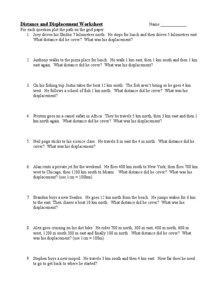Distance and Displacement Worksheet 1