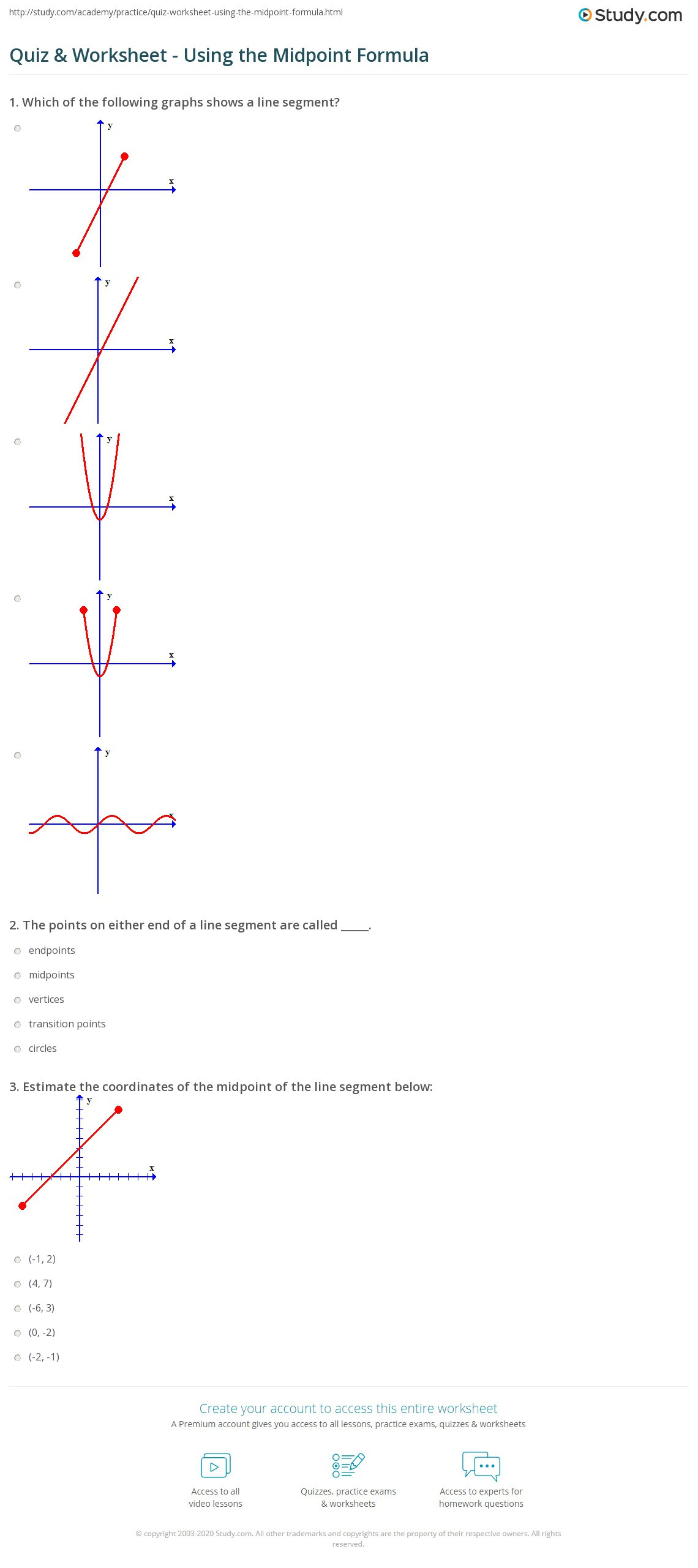 Distance and Midpoint Worksheet Answers