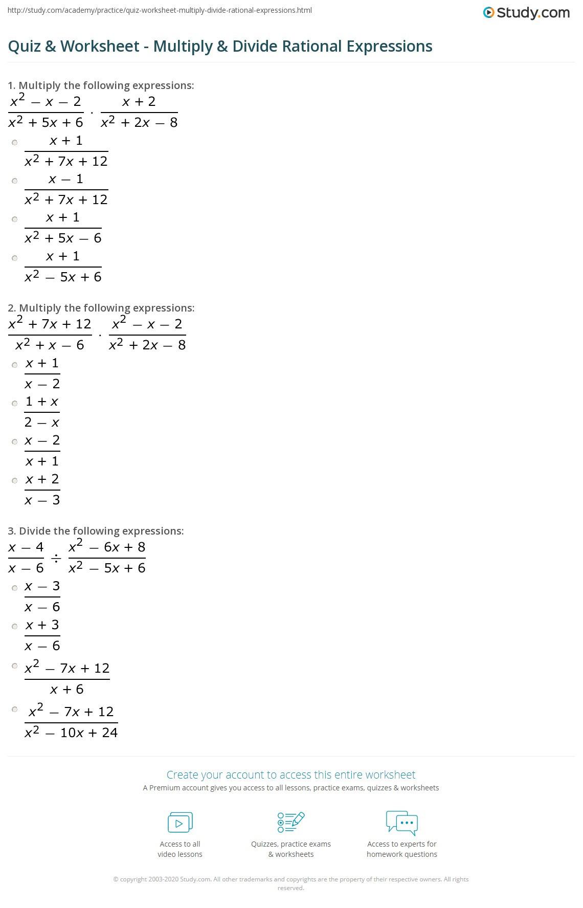 Quiz & Worksheet Multiply & Divide Rational Expressions