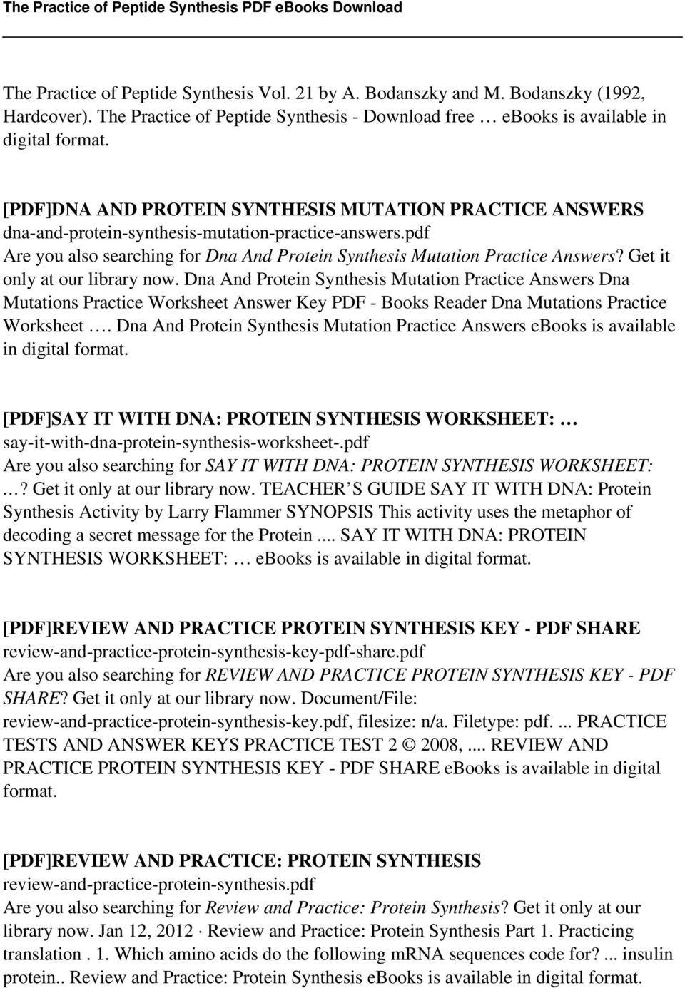 Dna Transcription and Translation Worksheet