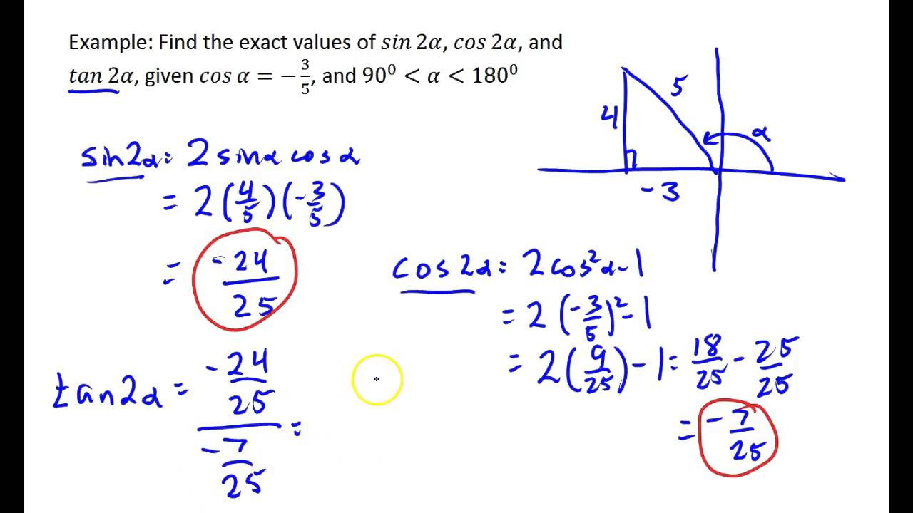 Double Angle Identities Worksheet