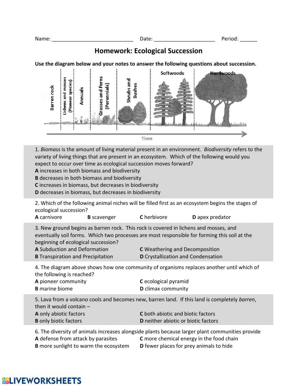 ES Ecological Succession HW Interactive worksheet