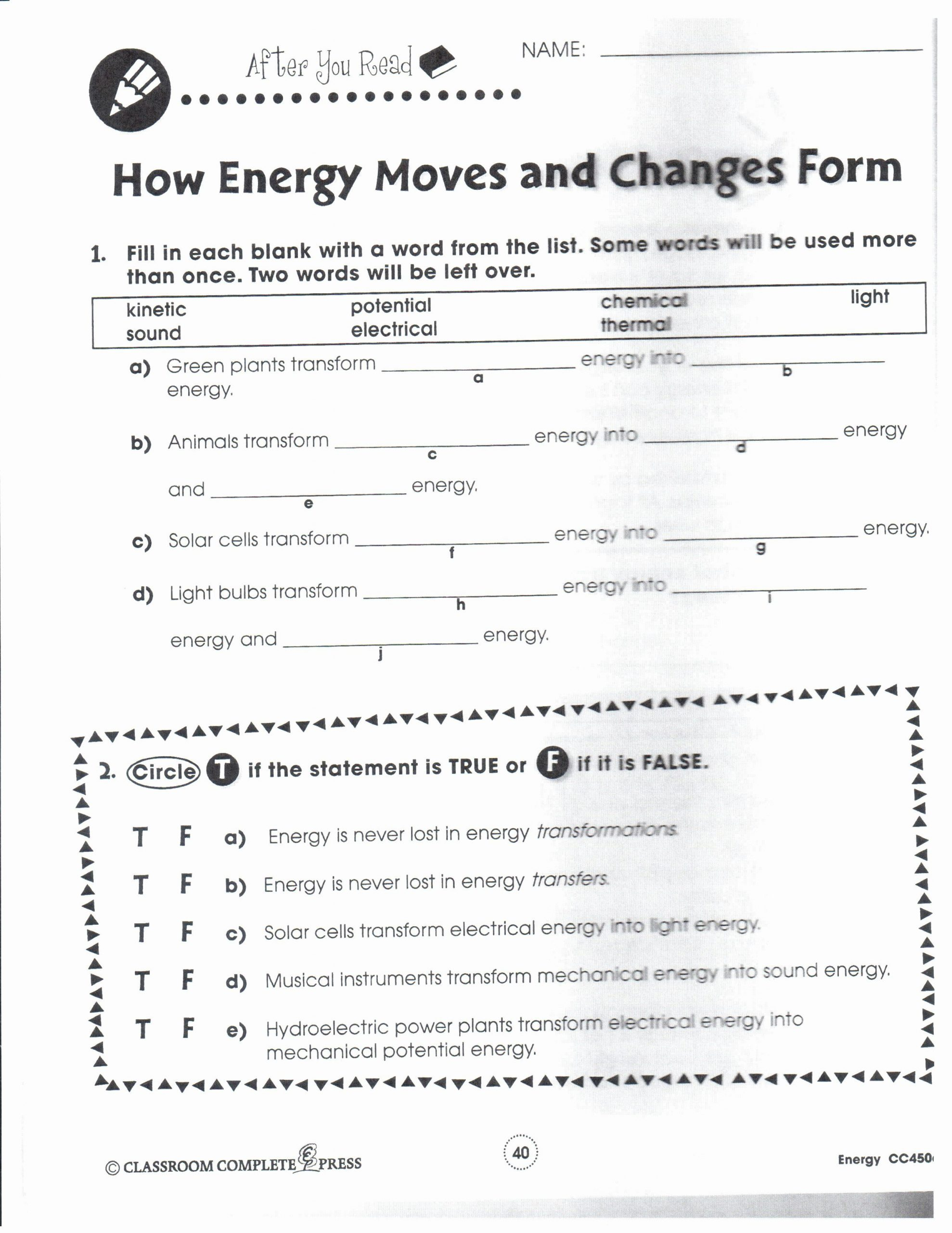Electrical Power Worksheet Answers