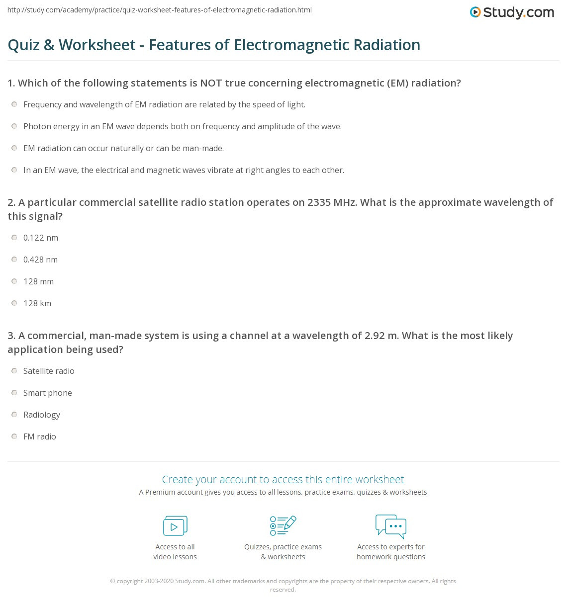 Electromagnetic Spectrum Worksheet Answers