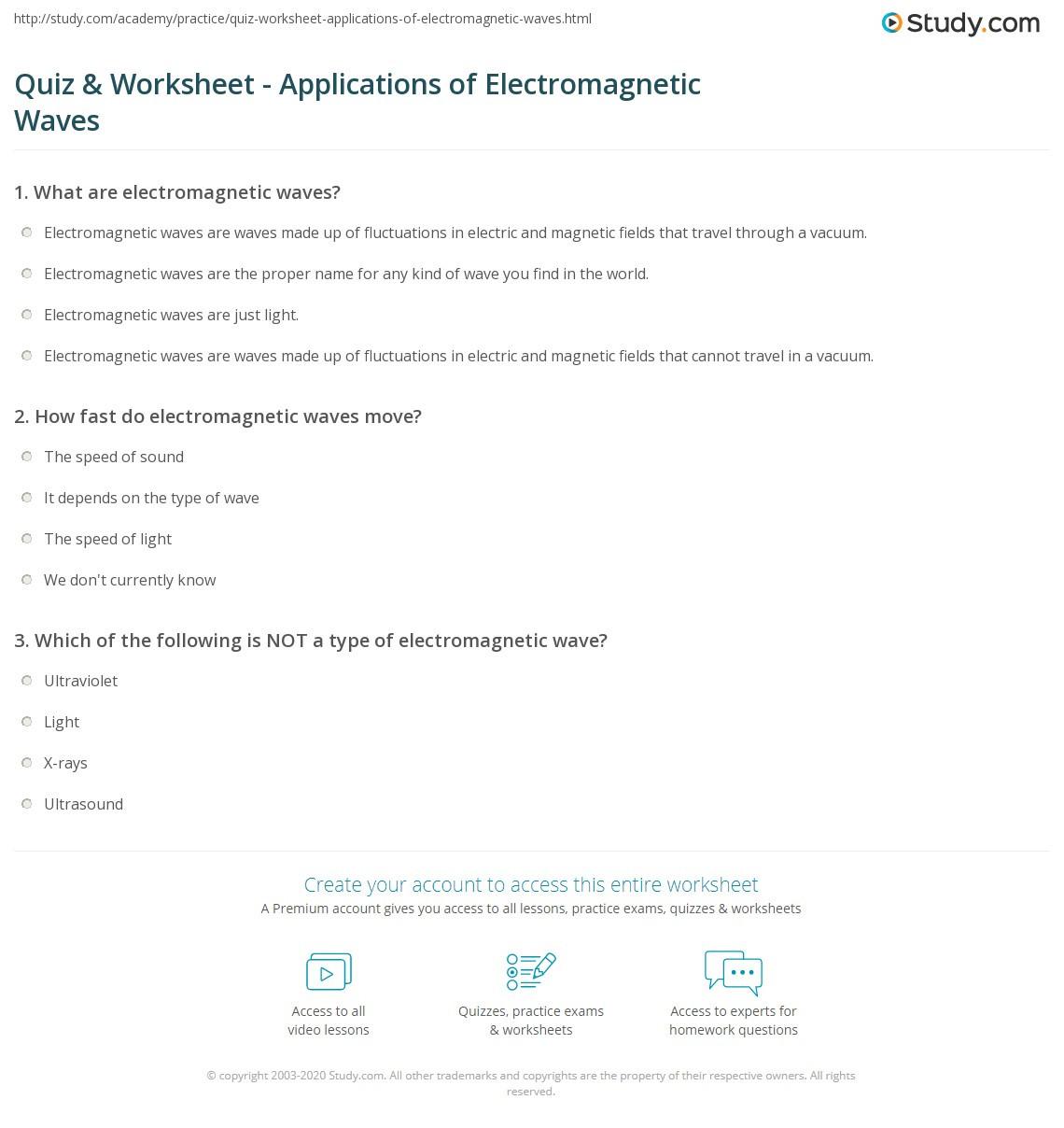 Quiz & Worksheet Applications of Electromagnetic Waves