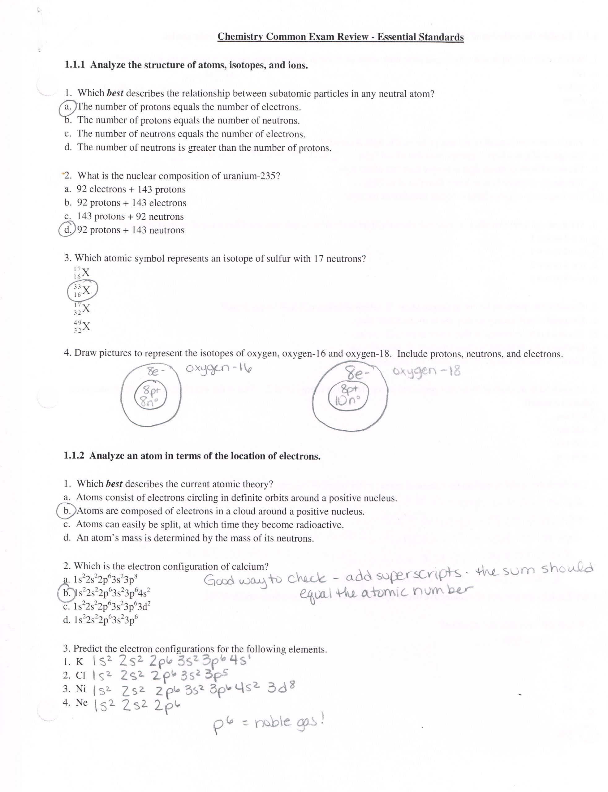 Electron Configuration Practice Worksheet Answers