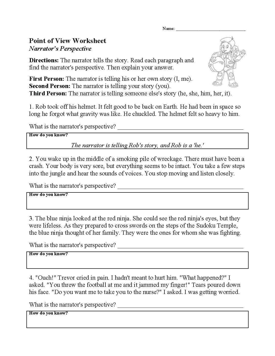 Elements Of Fiction Worksheet