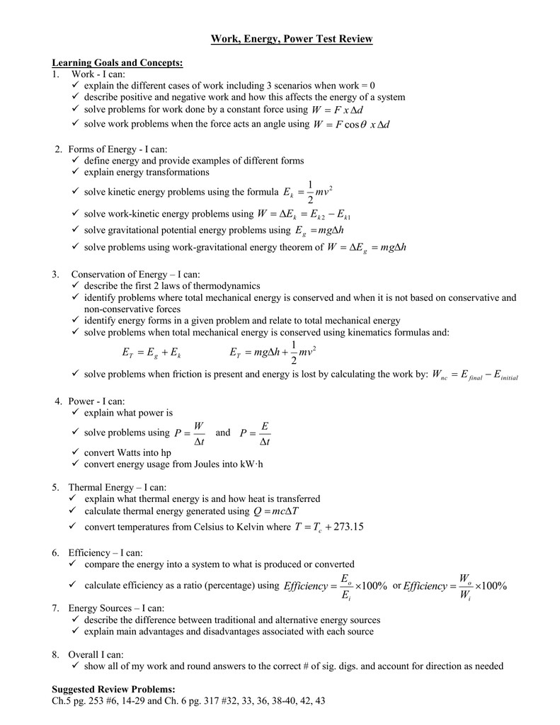 Energy Transformation Worksheet Answers