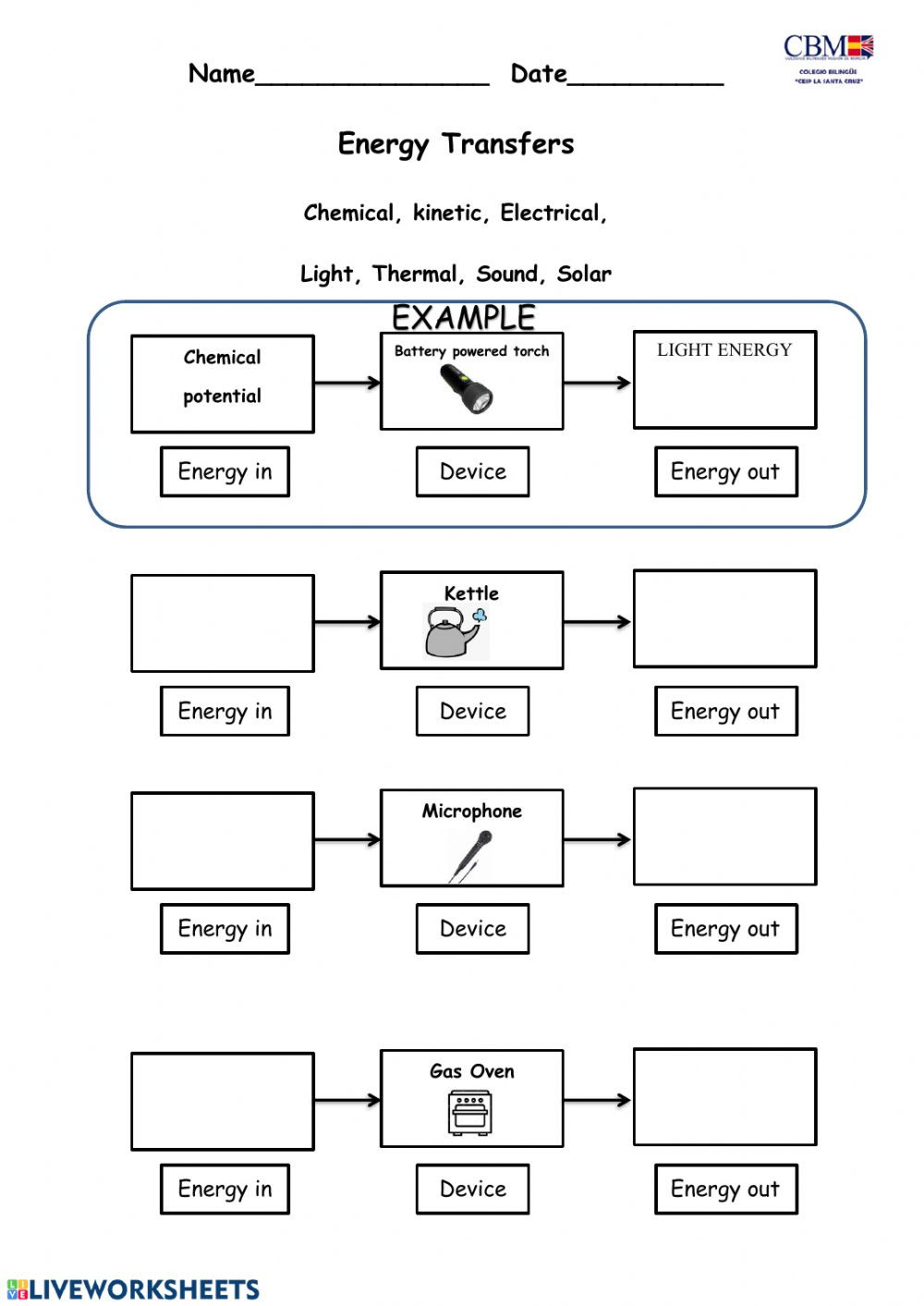 Energy transformation Interactive worksheet