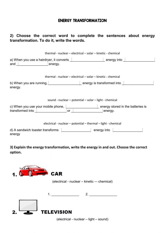 Energy Transformation Worksheet Pdf