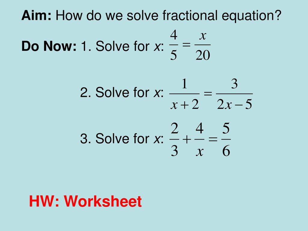 Equations with Fractions Worksheet