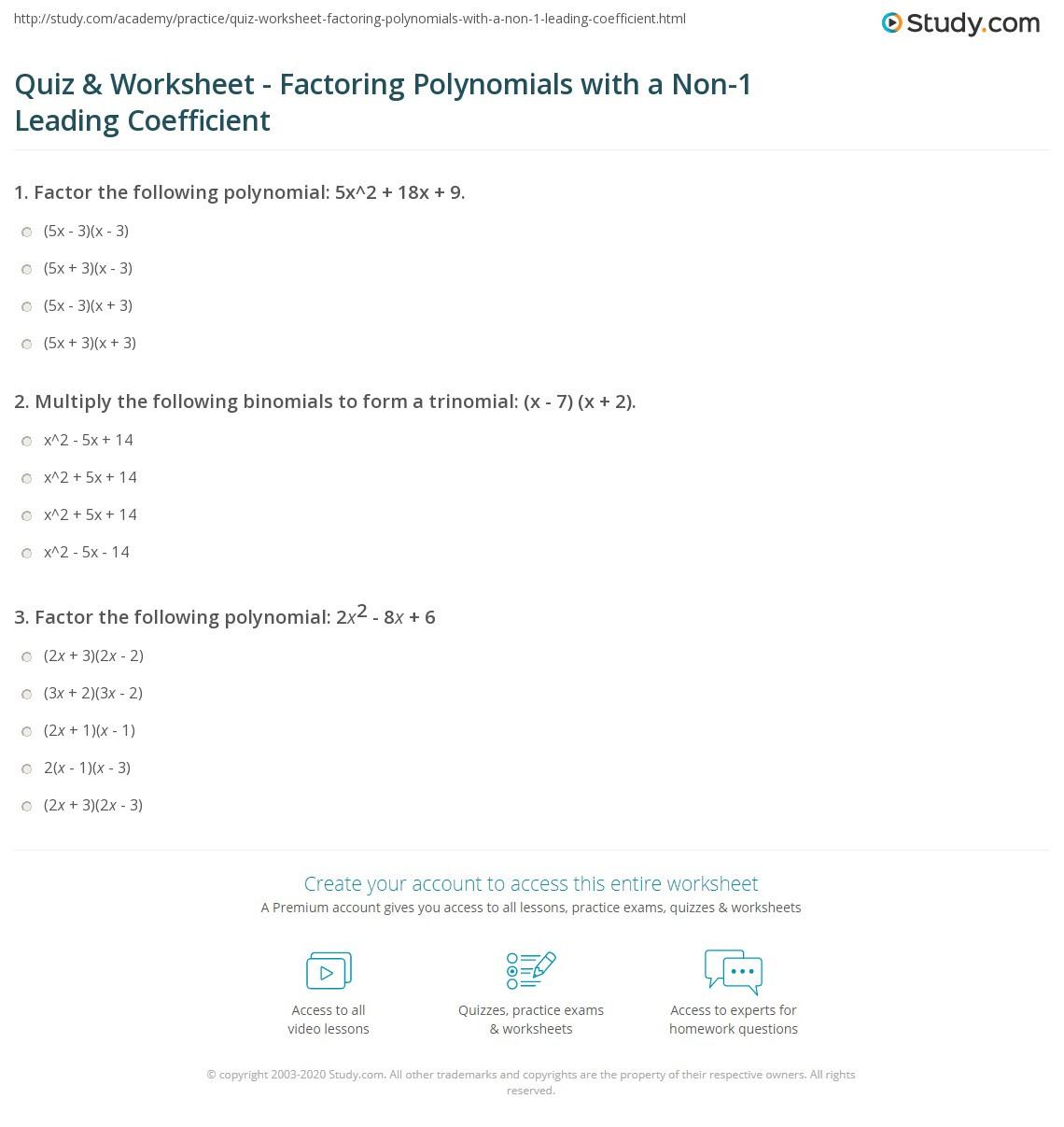 Factoring Quadratic Equations Worksheet