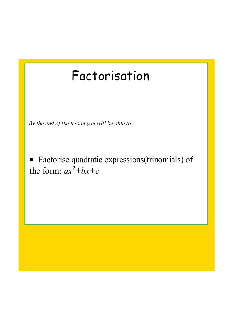 Factoring Quadratic Expressions Worksheet
