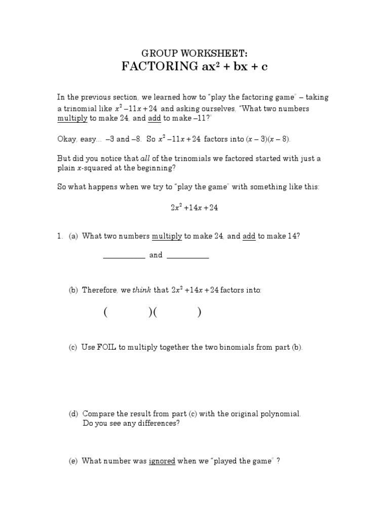 Factoring Quadratic Trinomials Worksheet