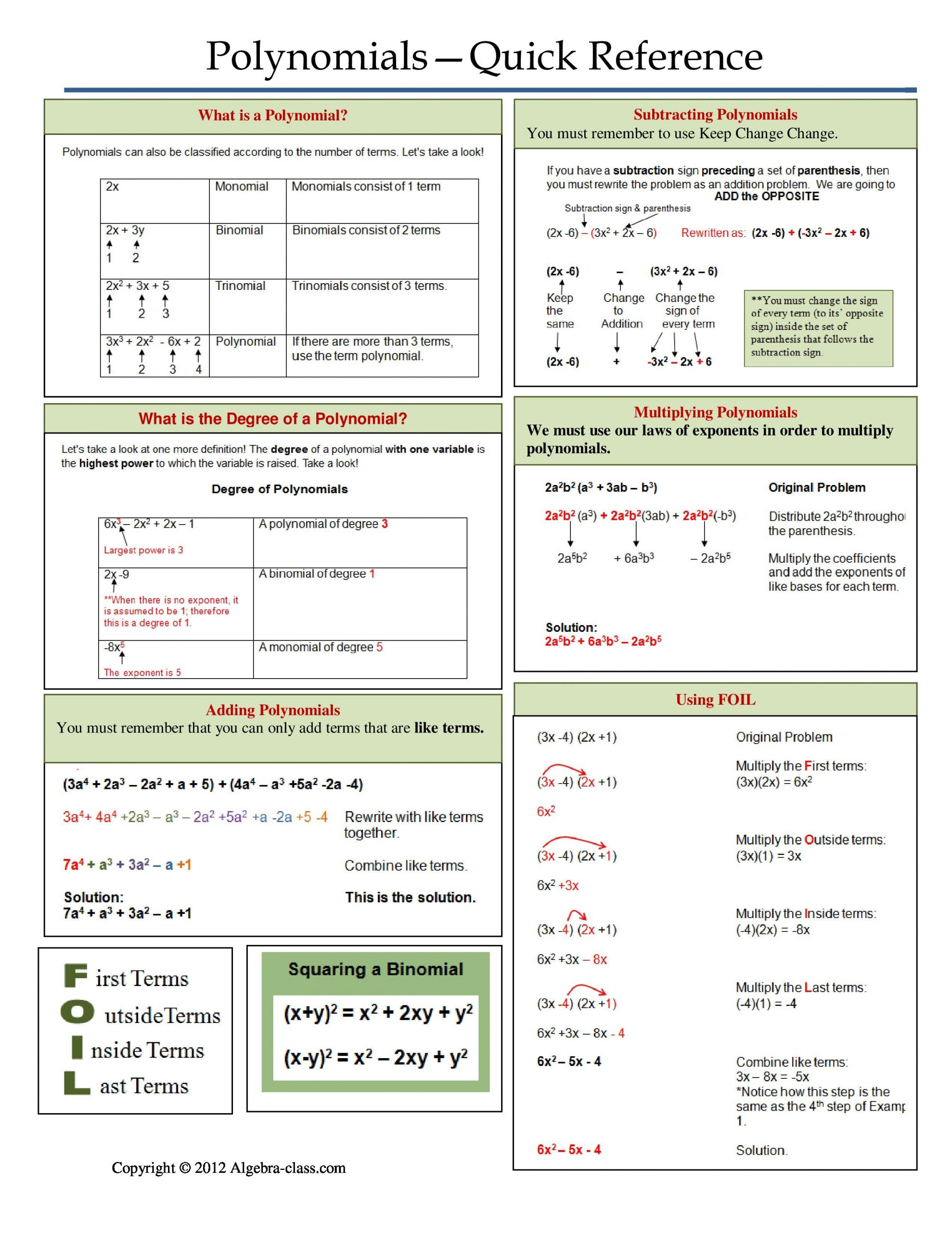 Factoring Special Cases Worksheet