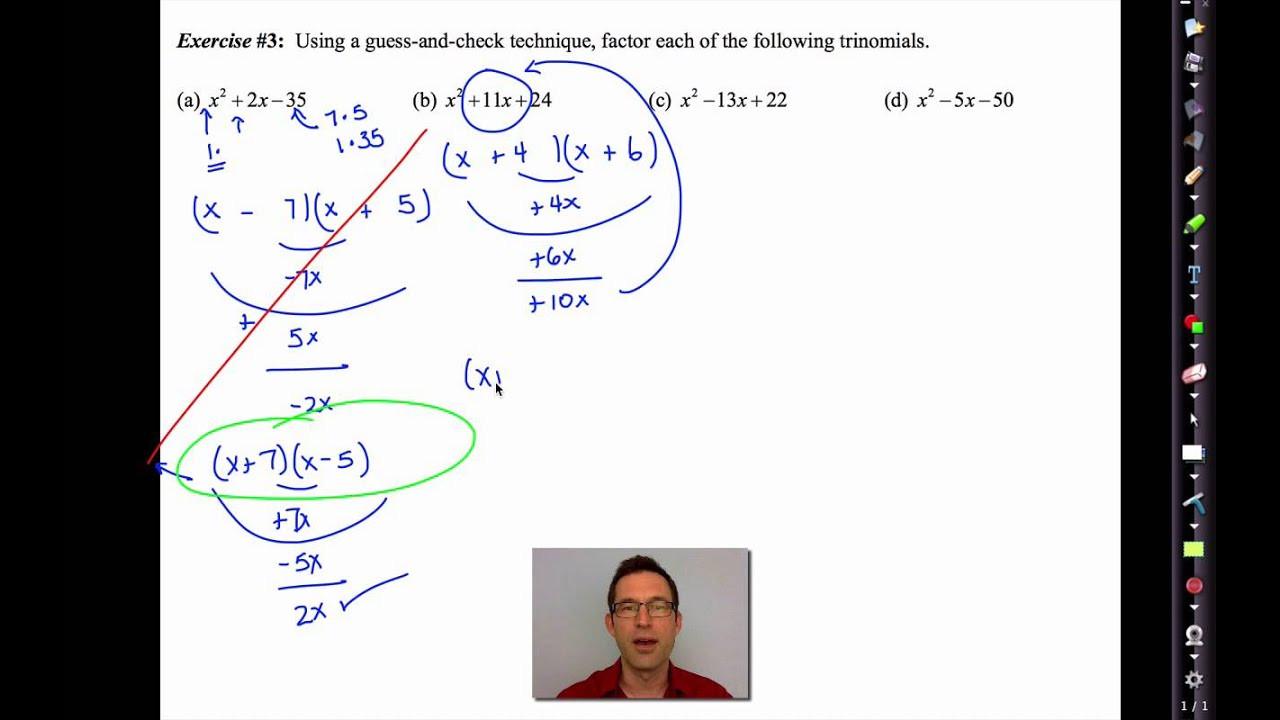Factoring Trinomials Worksheet Answer Key