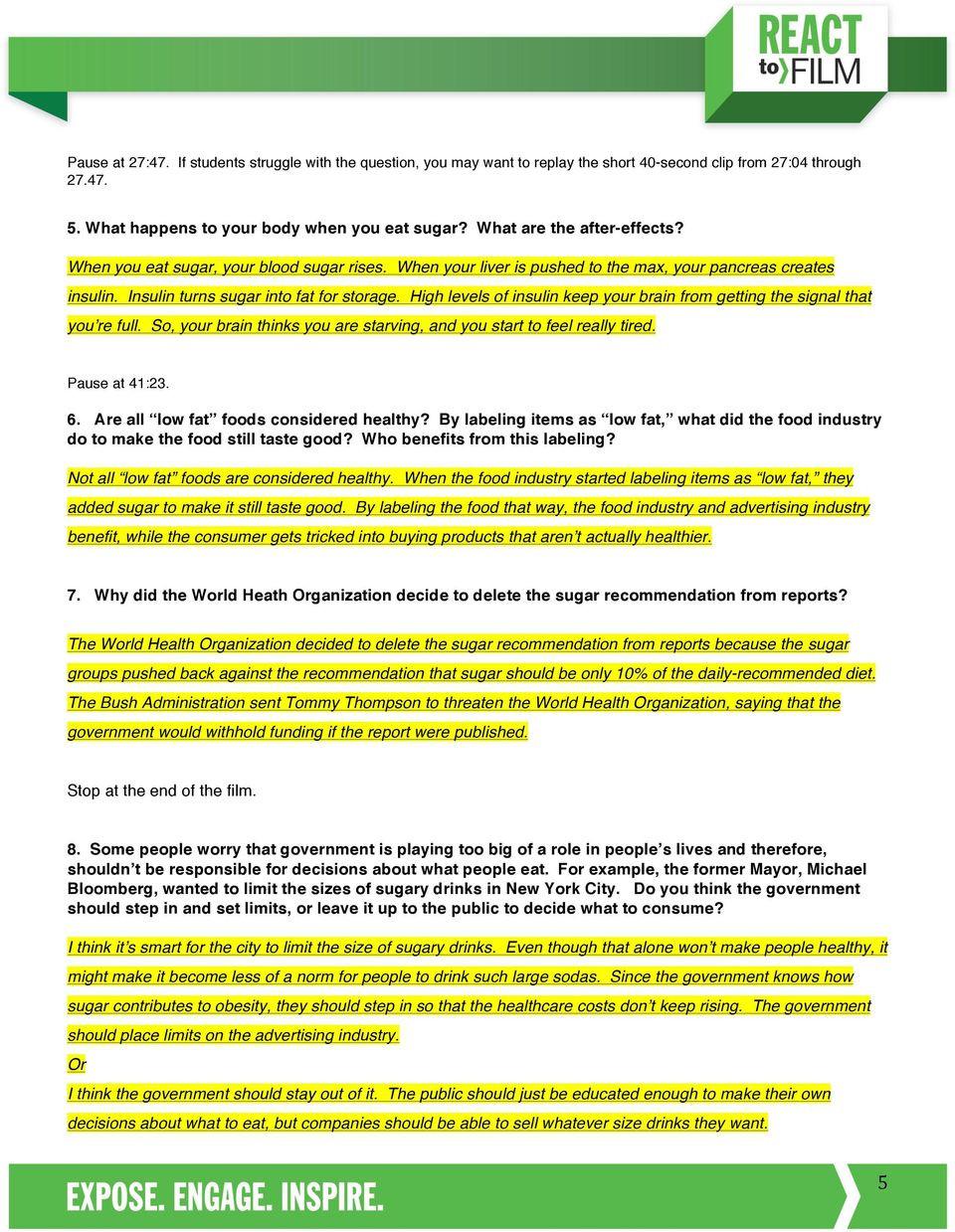 Fed Up Worksheet Answer Key