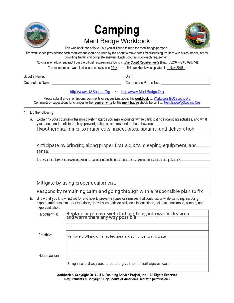 Fire Safety Merit Badge Worksheet
