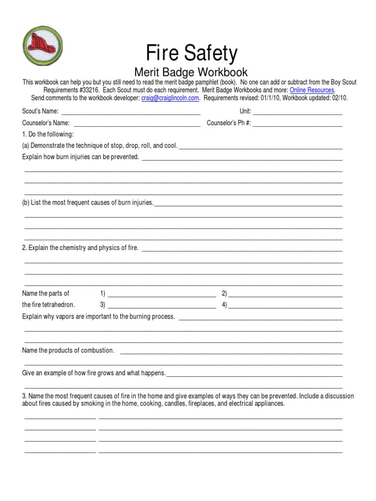 Fire Safety Merit Badge Worksheet Fires