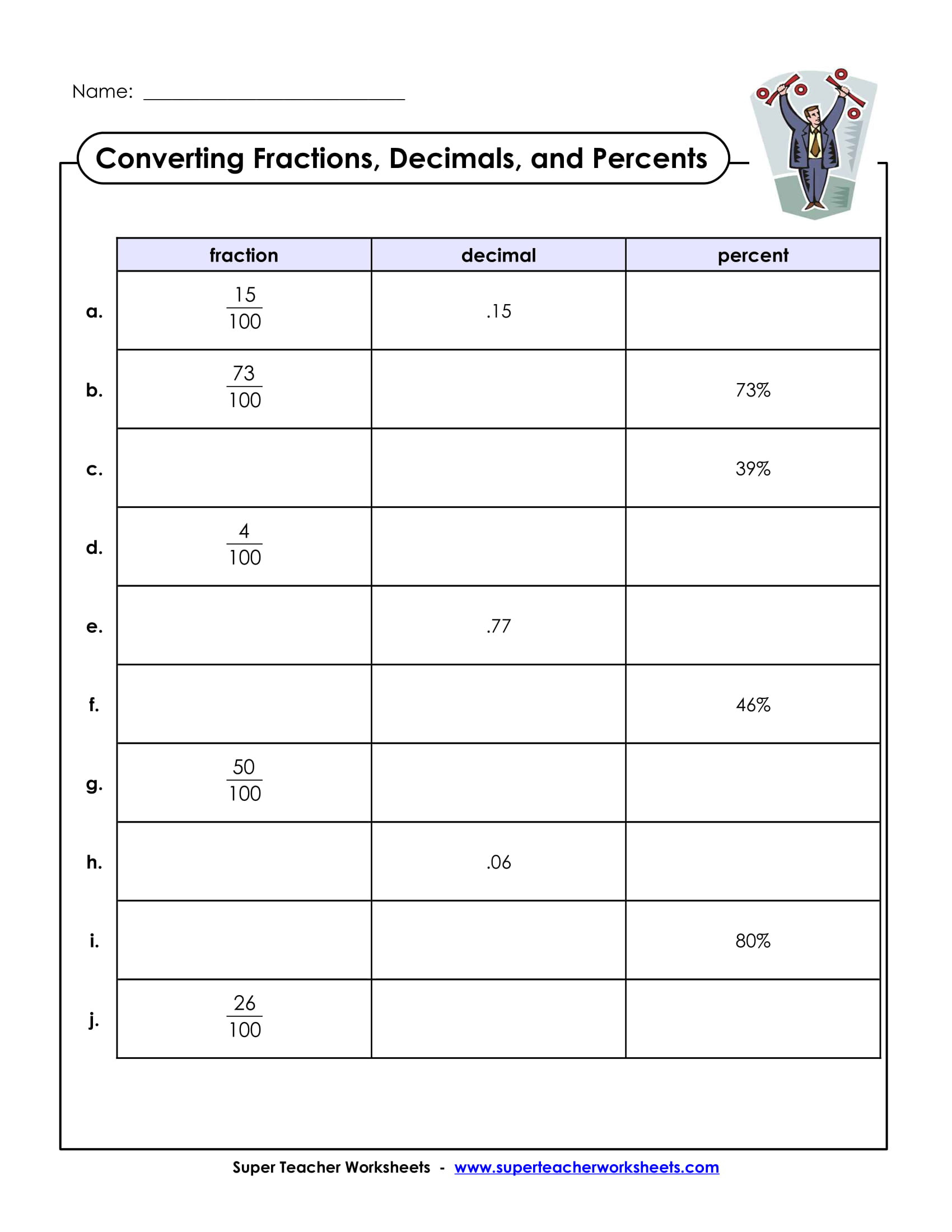 Fraction Decimal Percent Conversion Worksheet