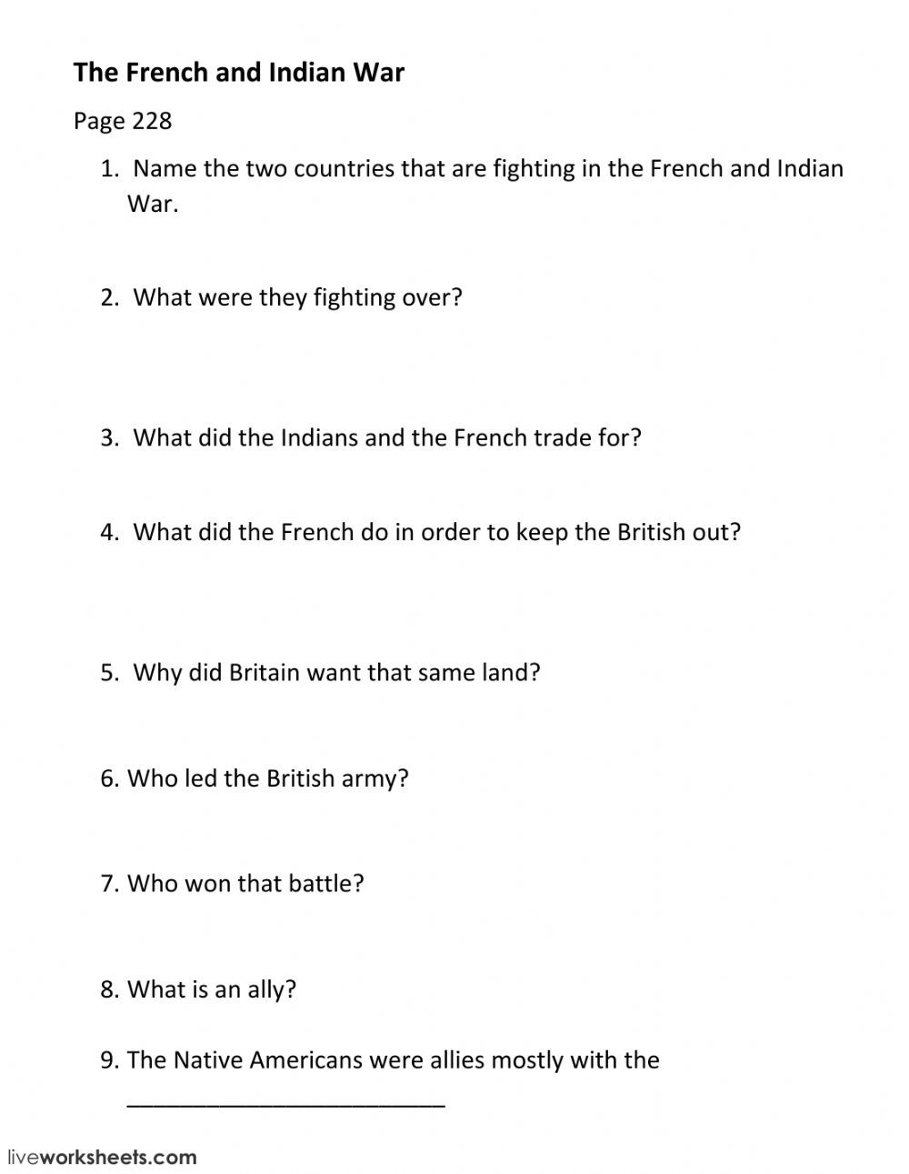 French and Indian War worksheet