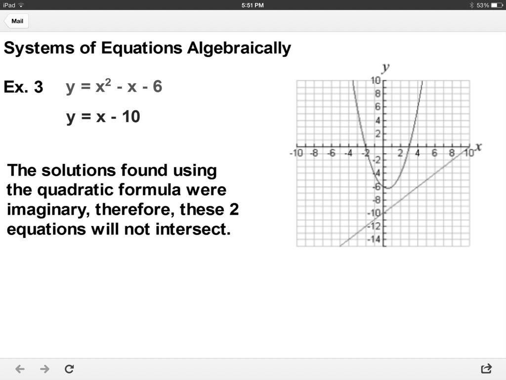 Graphing Systems Linear And Quadratic Equations Worksheet