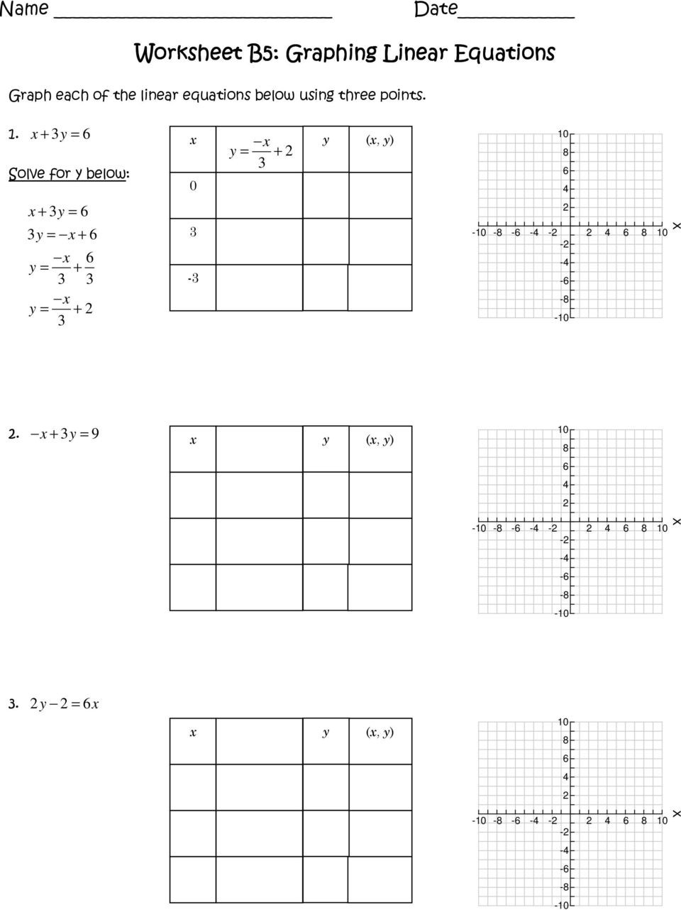 Graphing Linear Equations Worksheet Pdf