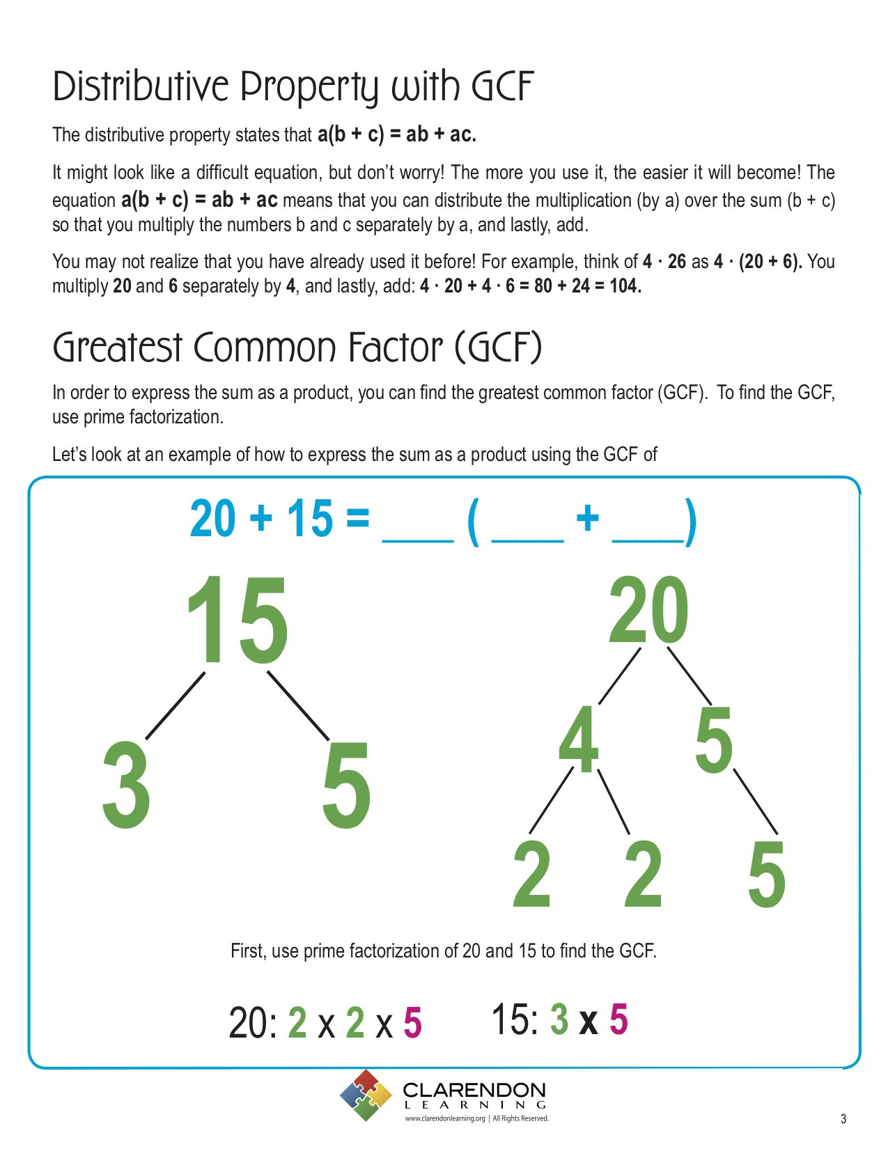 Greatest Common Factor Worksheet