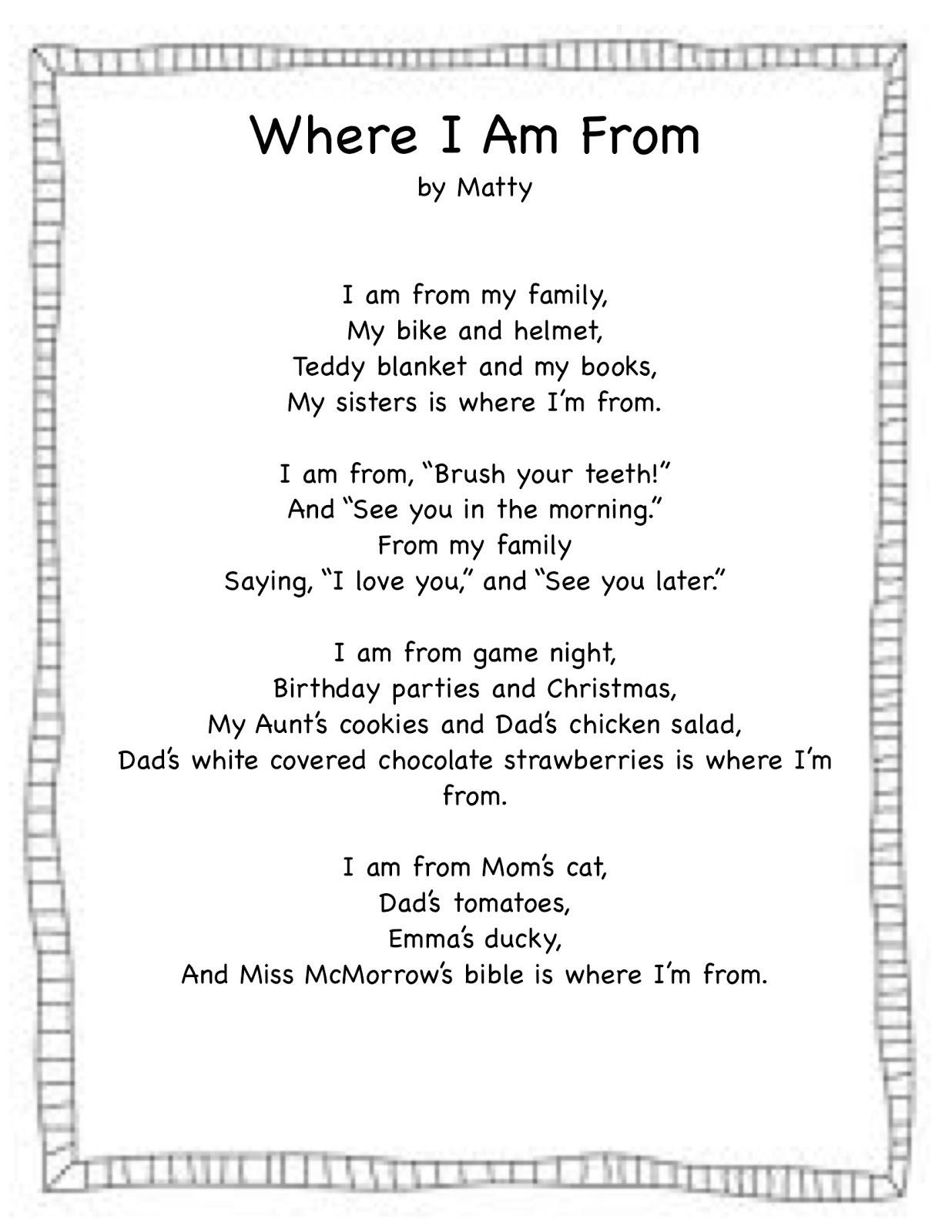 I Am Poem Worksheet