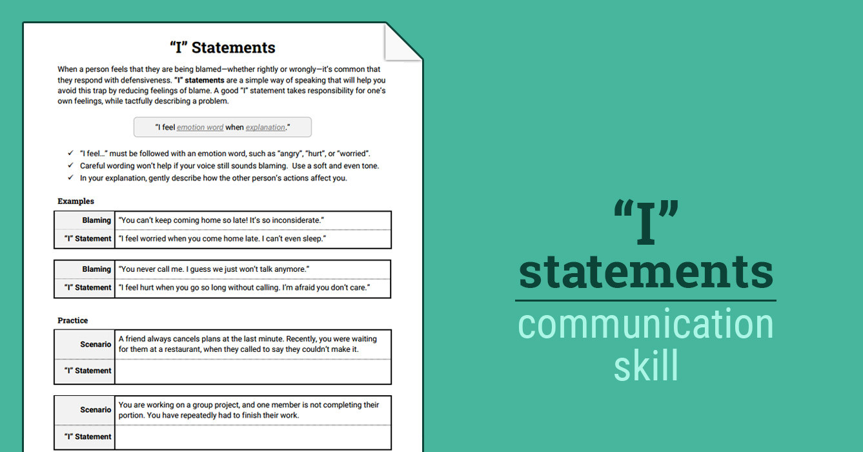 "I"" Statements Worksheet"