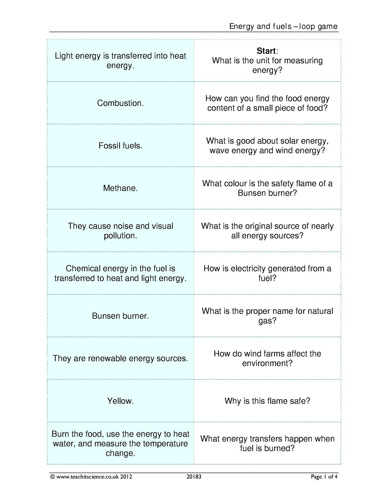 Introduction to Energy Worksheet Answers