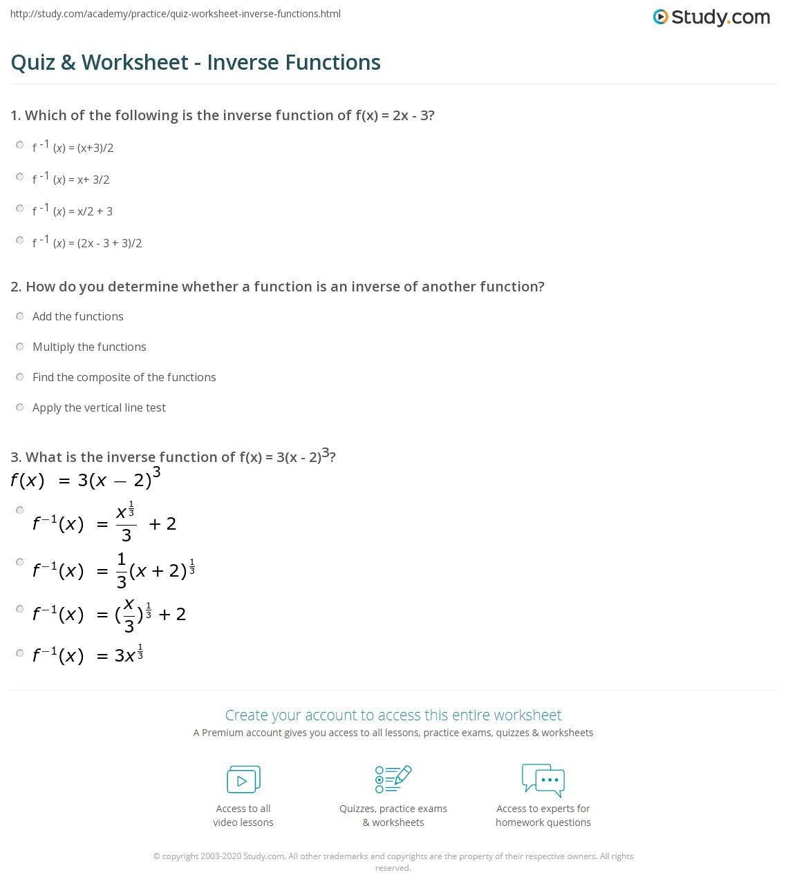 Quiz & Worksheet Inverse Functions
