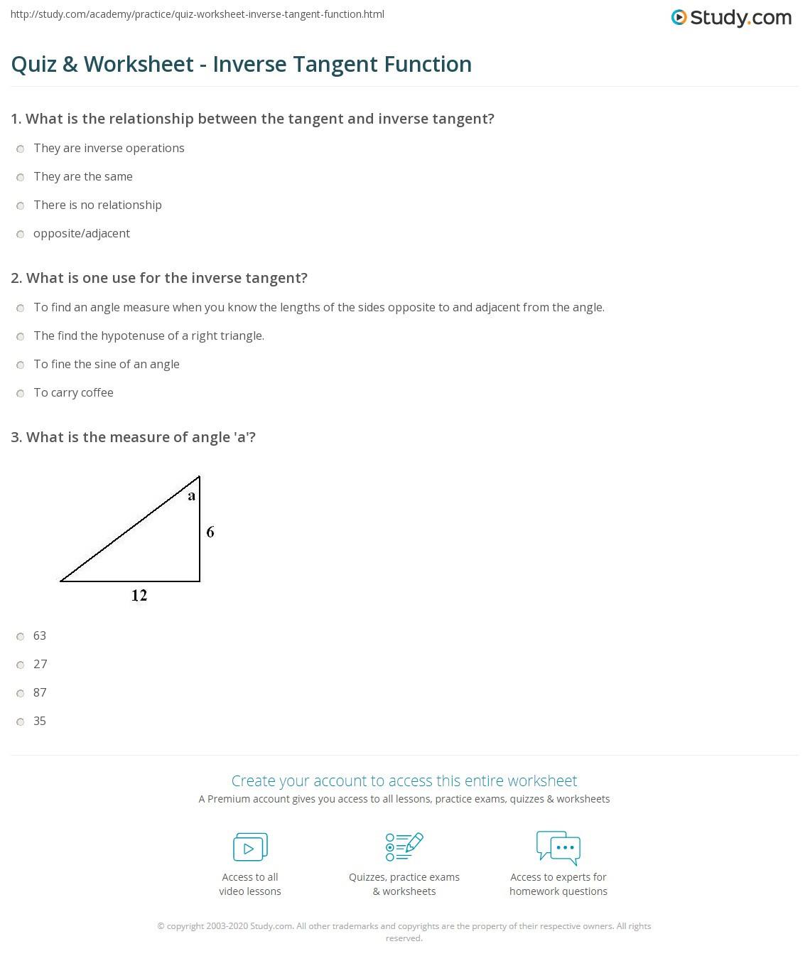 Inverse Trigonometric Functions Worksheet