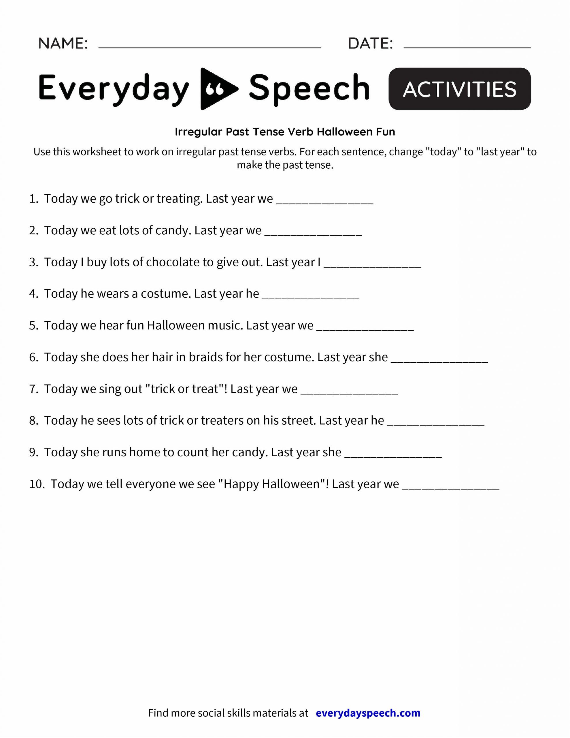 Irregular Verbs Worksheet Pdf