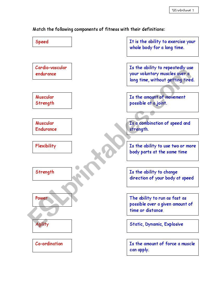 Joints and Movement Worksheet
